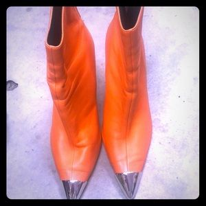 Orange Booties with silver tip